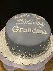 Gray Pearl Birthday Cake