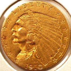 1910 Indian Quarter Eagle AU Obverse