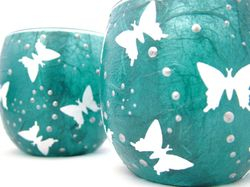 Teal and White Butterflies