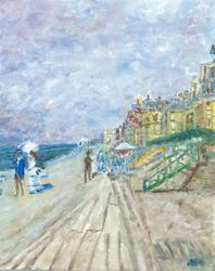 "Interpretation of ""The Boardwalk at Trouville 1870"" by Monet"
