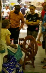 Silk spinning demonstration