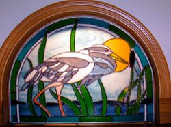 GREAT BLUE HERON SEMI ROUND PANEL