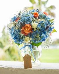 Blue and Coral Garden Wedding