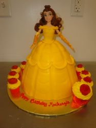 Fondant Belle $100 (doll not included), mini rose cupcakes $2 each