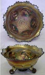 Horse medallion footed bowl, red slag