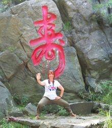 Posing at Tashan park, Yantai