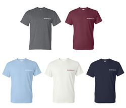 T-Shirts.  Heavyweight, 50/50.  Dark Heather, Maroon, Light Blue, White and Navy Blue.