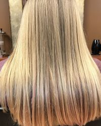 Natural balayage with baby pink ends