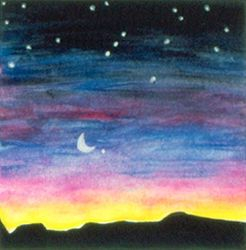 New Moon and Orion, Tempera, 4x4, Original Sold