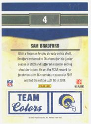 SAM BRADFORD 2010 PANINI CLASSICS RAMS ROOKIE TEAM COLORS EXPO AUTOGRAPH 1/1