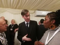 Rees Mogg congratulating Sandra and the firm for our work in the community