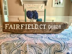 Town name driftwood sign