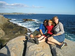 Mom and the boys at Peggy's Cove