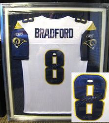 "SAM BRADFORD FRAMED AUTOGRAPHED STITCHED JERSEY AUTO JSA WITH ""ROY 10"" INSCRIPTION"