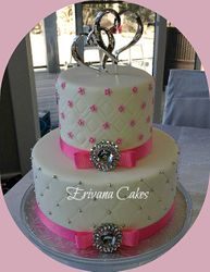 Pink and white wedding cake 7