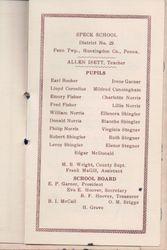 Speck School Class List 1929