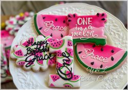 One in a Melon First Birthday Cookies