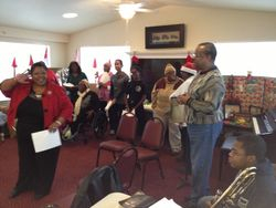 "Pastor Chris leading the ""12 Days of Christmas"" at Parker Place"