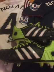 Kevin Nolans´s worn and personalised boots (Jasmine and Sonny are his children names)