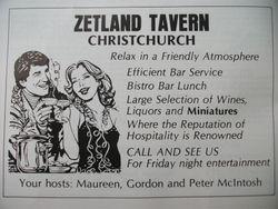 Zetland Hotel Advert