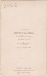 J. Weekes, photographer of Norwich, Connecticut - back