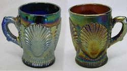 Beaded Shell mugs, blue and purple