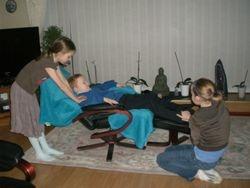 Ellie, Georgina treating James