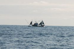Strange fishing boat that passed us in the Bay of Biscay!