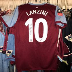 Manuel Lanzini worn, still dirty and signed FA Cup home shirt