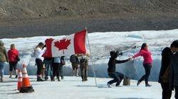 Flag on Athabasca glacier