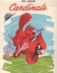 "St Louis Cardinals Autographed 1961 Scorecard Stan Musial With ""The Man"" and ""HOF 69"" Inscriptions"