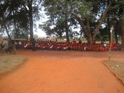 Primary School students await Bishop Mdegella's arrival