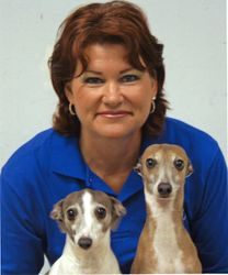 CULLEEN WITH 11 YR. OLD ITALIAN GREYHOUNDS AT DOG CLASS