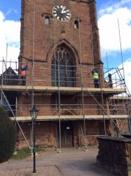 Scaffolding being erected on Tower