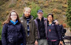 "Lydia Ottenheimer Carrier, JB Leca, Joe Pontecorvo, and Nim Pontecorvo at Jigokudani (central Japan) in November 2012, during the filming of ""Snow Monkeys"" (PBS Nature), on the local Japanese macaques"