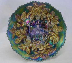"""Fenton Peacock at Urn 9"""" plate - blue"""