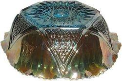 Hobstar and Cut Triangles-aqua bowl -Sowerby