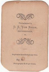 D. S. Von Nieda, photographer of Brunnerville, PA - end