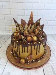 40th birthday gold and bronze drip cake