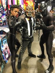Shuri, Ghost Rider, and Black Panther