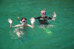 Becci and Ben snorkelling from the boat