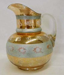Silver Queen bulbous water pitcher, marigold