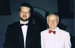 With Sir David Willcocks, Dedham, Suffolk, UK, 1998