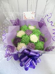 Purple, green and white cupcake bouquet