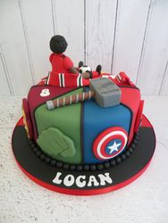 Half and half Avengers Birthday cake