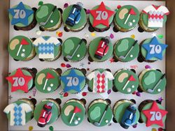 Golf themed 70th Birthday Cupcakes
