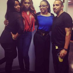 Ateya, Demetria McKinney, Jam Poet And Her Husband Celebrating The Launch Of 'Platinum Wigs' on October 5, 2013