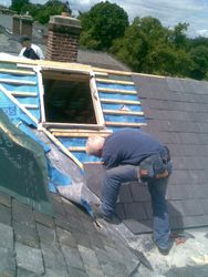 Lead valleys& velux & old & new slating
