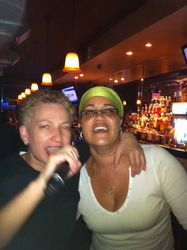 """Carmen and Patty gettin it in glee style with """"We Are The World"""" at 502 Bar Lounge's Social Saturday Night Karaoke! We FINALLY got Carmen on the mic!!"""
