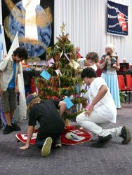 Christmas Tree with envelopes for Indonesian orphans